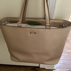 Kate Spade lg rose gold leather zip tote